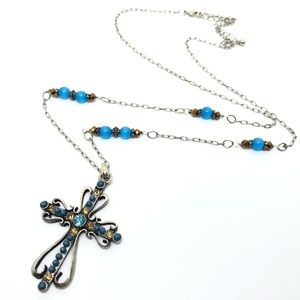 Jewelry - 🆕Silver, Blue & Topaz Cross Pendant Necklace